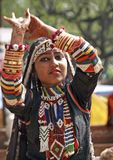 Indian Dancing Girl in Action Stock Photo