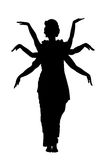 Indian dancing isolate. Black silhouette of  dancer from india isolate Royalty Free Stock Photography