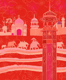 Indian decor with elephants. Vector illustration of Indian decor with elephants Royalty Free Stock Photography