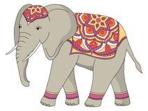 Indian decorated elephant. stock illustration