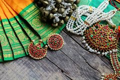 Indian decorations for dancing: bells for the legs - ganguru, elements of the Indian classical costume for dancing bharatanatyam royalty free stock image