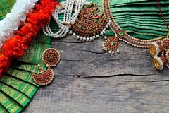 Indian decorations for dancing: bracelets, earrings, elements of the Indian classical costume for dancing bharatanatyam and stock image