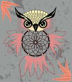 Indian decorative Dream Catcher owl in graphic style. illustration. Indian decorative Dream Catcher owl in graphic style vector illustration