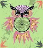 Indian decorative Dream Catcher owl in graphic style. illustration. Indian decorative Dream Catcher owl in graphic style stock image