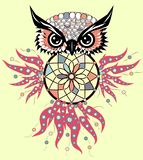 Indian decorative Dream Catcher owl in graphic style. illustration. Indian decorative Dream Catcher owl in graphic style stock illustration