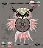 Indian decorative Dream Catcher owl in graphic style. illustration. Indian decorative Dream Catcher owl in graphic style royalty free illustration