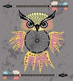 Indian decorative Dream Catcher owl in graphic style. illustration. royalty free illustration
