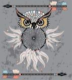 Indian decorative Dream Catcher owl in graphic style. illustration. Indian decorative Dream Catcher owl in graphic style stock illustration