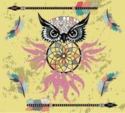 Indian decorative Dream Catcher owl in graphic style. illustration. Indian decorative Dream Catcher owl in graphic style royalty free illustration