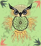 Indian decorative Dream Catcher owl in graphic style. illustration. Indian decorative Dream Catcher owl in graphic style royalty free stock photography