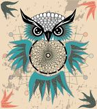Indian decorative Dream Catcher owl in graphic style. illustration royalty free stock image