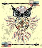 Indian decorative Dream Catcher owl in graphic style. illustration. vector illustration