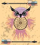 Indian decorative Dream Catcher owl in graphic style. illustration. stock illustration