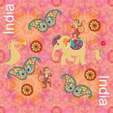Indian decorative pattern with crocodiles, elephant, monkeys, butterflies with paisley ornament Stock Images