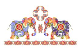 Indian decorative pattern with elephants and paisley Stock Photography