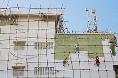 Indian decorators wooden scaffold Stock Photography