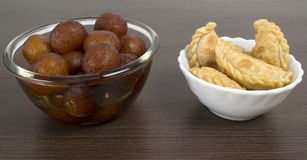 Indian delicacy sweets served on a table Royalty Free Stock Photography