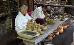 Indian Demonstration - Making Pottery Stock Photo