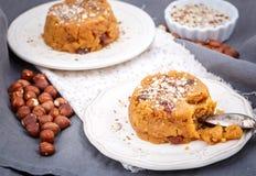 Indian dessert made of semolina flour and nuts Stock Photos