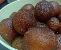 Indian Dessert :Gulab Jamun stock photo