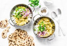Indian dhal with jasmine rice, marinated red onion, scallion and whole grain flatbread on light background, top view. Flat lay, ve. Getarian food concept royalty free stock photography