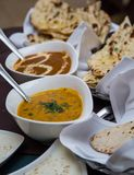 Indian dips souces nad diches. Indian cuisine consists of a wide variety of regional and traditional cuisines native to the Indian subcontinent. Different dips stock images