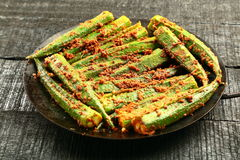 Indian dish of Okra fry Stock Image