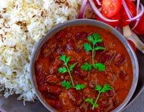Indian vegan Punjabi meal Rajma Chawal. Indian dish Rajma or kidney beans curry with cumin flavored Rice.Protein rich glutenfree vegan meal royalty free stock photos