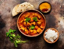 Indian dish Spicy chicken tikka masala with rice, indian naan bread stock images