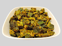 Indian dish - Stir fried okra Royalty Free Stock Photos