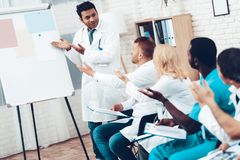 Indian Doctor Shares Experience With Colleagues. stock image