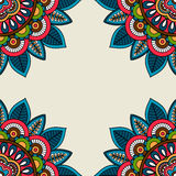 Indian doodle floral corners frame. Vector illustration Royalty Free Stock Photos
