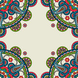 Indian doodle paisley colored frame royalty free illustration