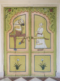 Indian door decorated, Udaipur. Closed wooden door decorated in the Indian style in the city of Udaipur in Rajasthan Stock Image