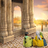 Indian door. Women with saree near traditional indian door Royalty Free Stock Images