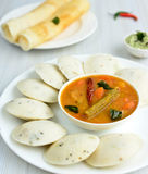 Indian Dosa ,Idli and sambhar platter Stock Photos