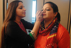 Indian Drama. May 04,2013 Kolkata,West Bengal,India,Asia-Indian drama actress  making up in a green room Stock Images
