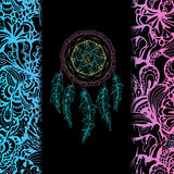 Indian Dream catcher, black background Royalty Free Stock Photography