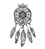 Indian dream catcher with ethnic ornaments. Vector illustration  on white background Royalty Free Stock Images