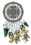 Indian Dream catcher with feathers. Vector Indian Dream catcher design with flying in the wind feathers stock illustration