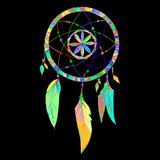 Indian Dream catcher in a sketch style. Vector illustration isolated on black background. Royalty Free Stock Image