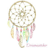 Indian Dream Catcher. Vector Illustration of Indian Dream Catcher.Painting of watercolor Royalty Free Stock Image