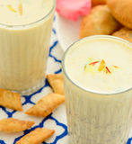 Indian drink- Thandai. Served cold with almonds,saffron,milk during Holi festival Royalty Free Stock Images