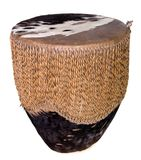 Indian Drum. Small rawhide Indian drum shot over white Royalty Free Stock Photo