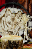 Indian Drum, Wolf & Corn Husk Doll Stock Photos