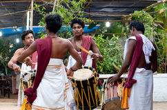 Indian drummers. KERALA, INDIA - JANUARY 15, 2016: Indian drummers playing Chenda drums during Theyyam ceremony Stock Photography