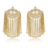 Indian earrings of gold chains royalty free stock images