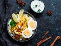 Indian Egg Biryani or anda rice, copy space stock photo