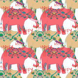 Indian elephant with beautiful pattern. Royalty Free Stock Photo