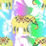 Indian elephant with beautiful pattern. Royalty Free Stock Photos